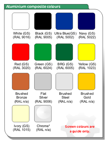 aluminium composite sign tray colours