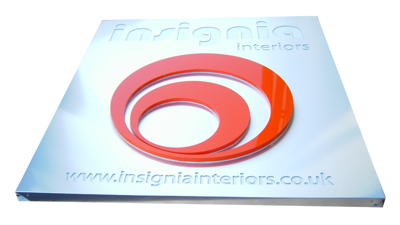 silver led illuminated sign tray