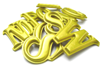 carved foamex letters painted gold