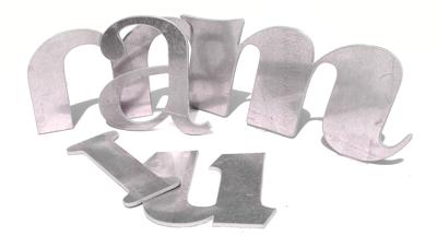 flat cut aluminium letters