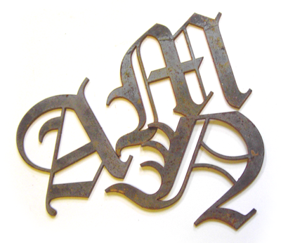 mild steel letters in an old english typestyle
