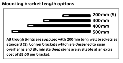 troughlight bracket lengths